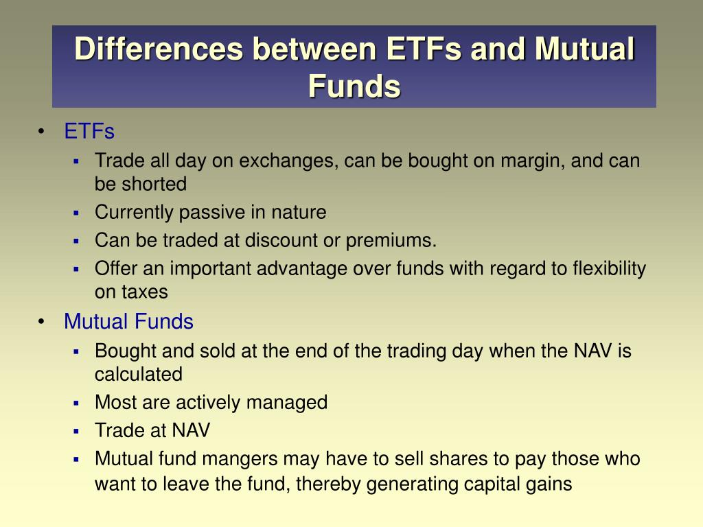 Differences between ETFs and Mutual Funds