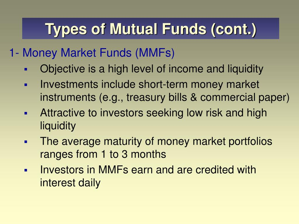 Types of Mutual Funds (cont.)