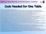 code needed for one table