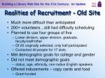 realities of recruitment old site