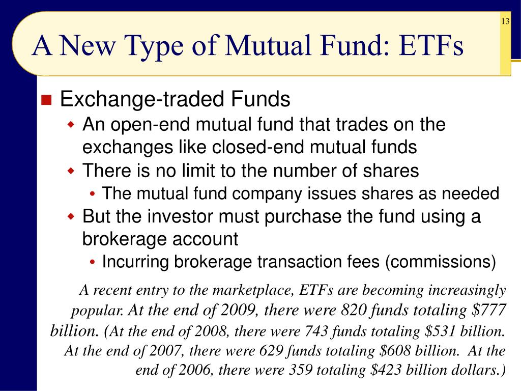 A New Type of Mutual Fund: ETFs