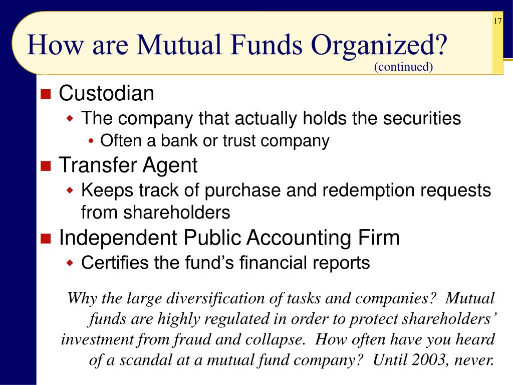 How are Mutual Funds Organized?