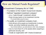 how are mutual funds regulated