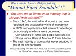 mutual fund scandals