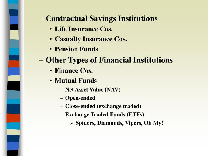 Contractual Savings Institutions