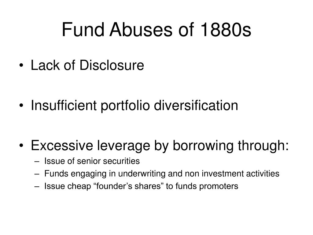 Fund Abuses of 1880s