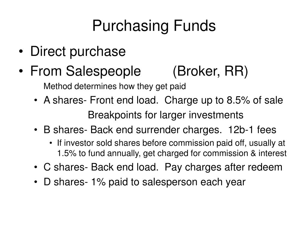Purchasing Funds