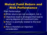 mutual fund return and risk performance26