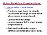 mutual fund cost considerations