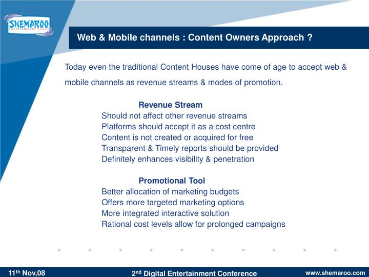 Web mobile channels content owners approach