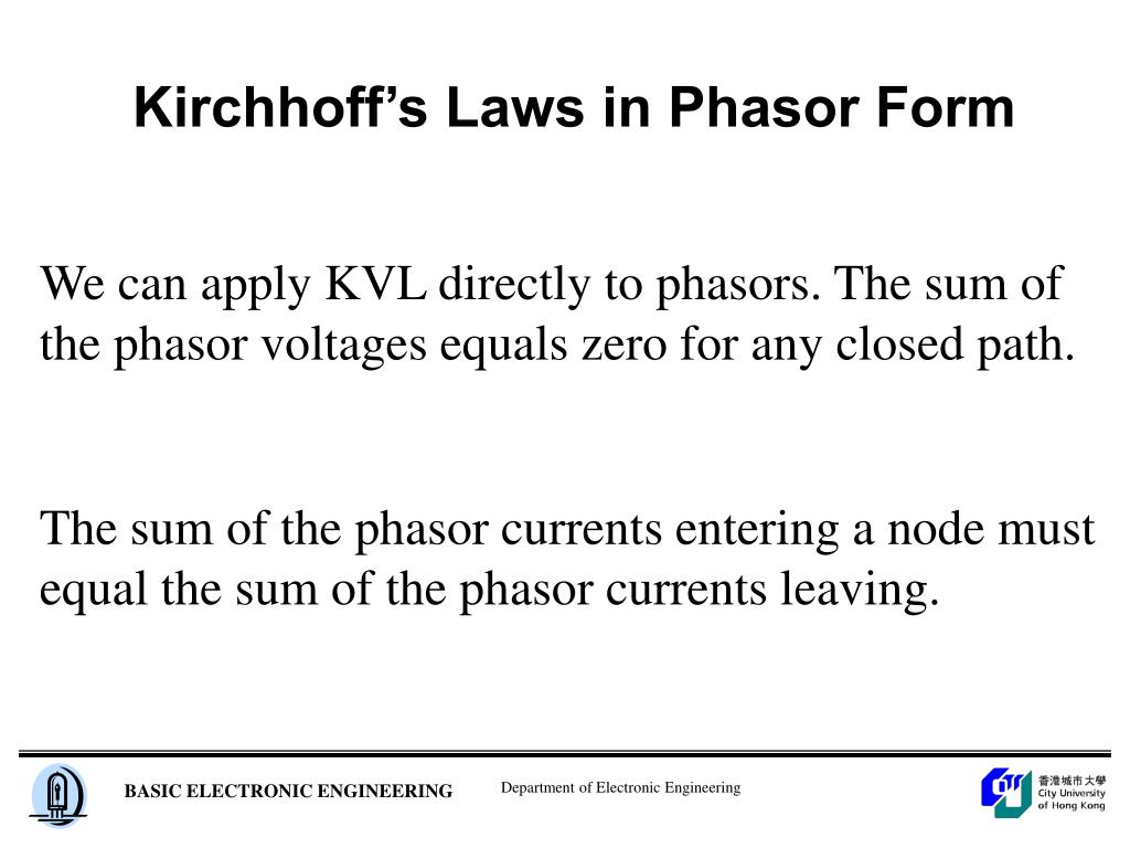 Kirchhoff's Laws in Phasor Form