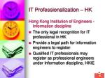 it professionalization hk