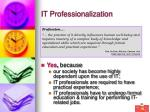 it professionalization