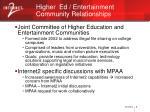 higher ed entertainment community relationships