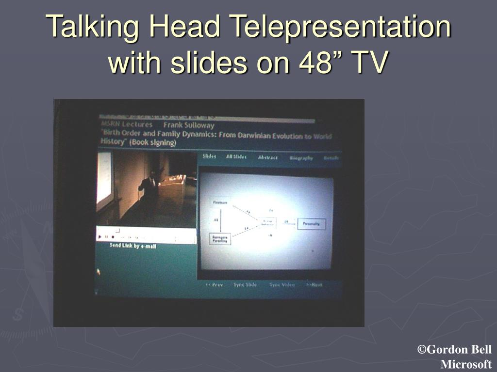 "Talking Head Telepresentation with slides on 48"" TV"