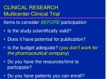 clinical research multicenter clinical trial