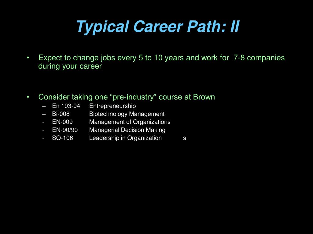 Typical Career Path: II