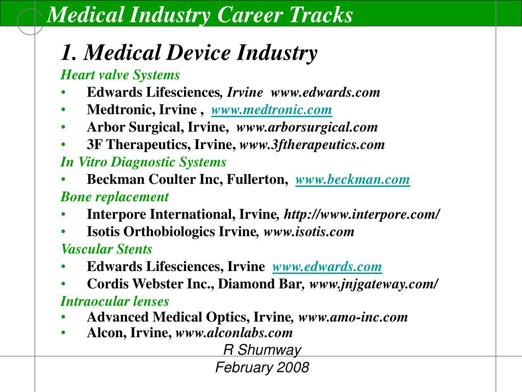 Medical Industry Career Tracks
