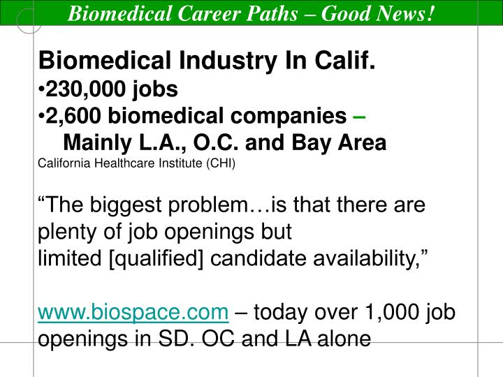Biomedical Career Paths – Good News!