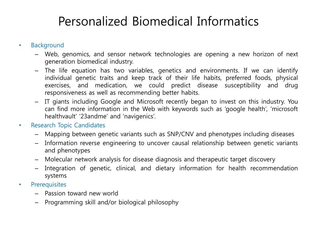 personalized biomedical informatics l.