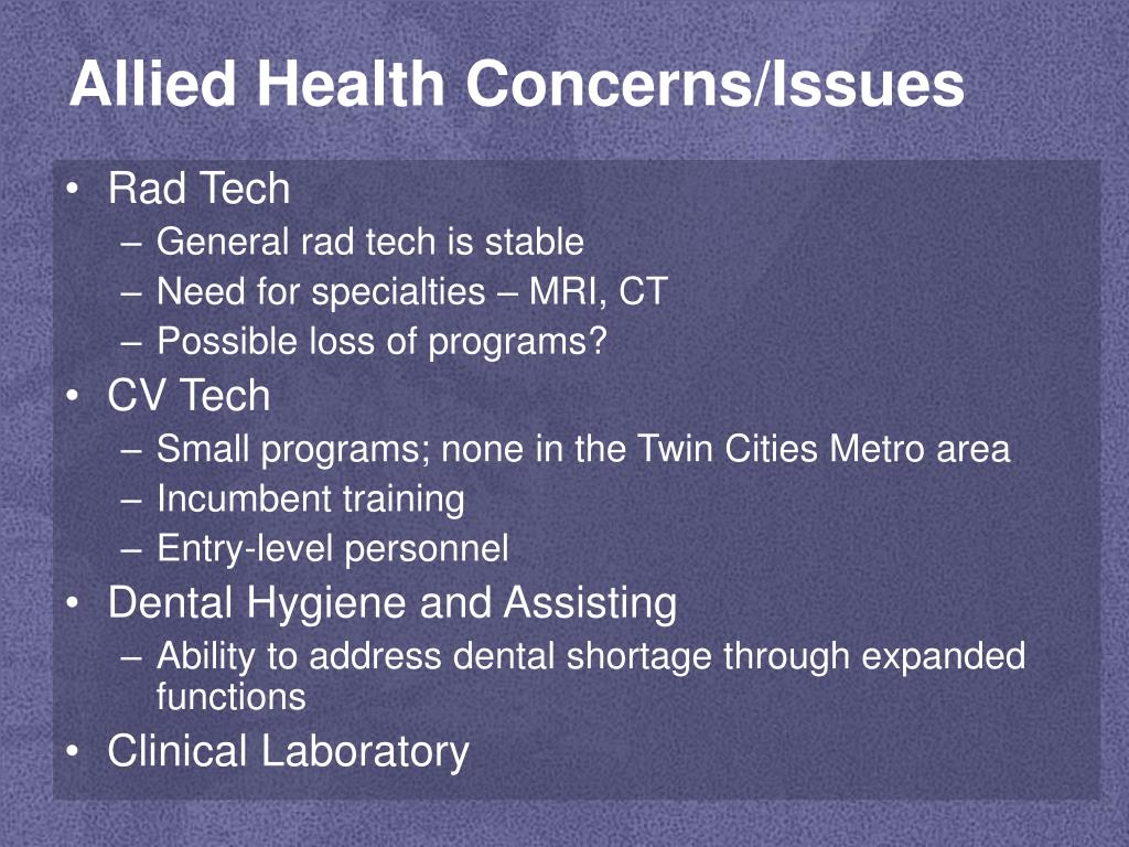Allied Health Concerns/Issues