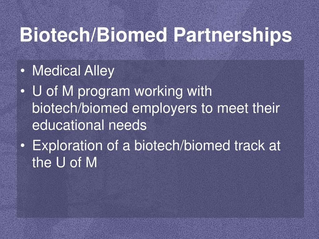 Biotech/Biomed Partnerships