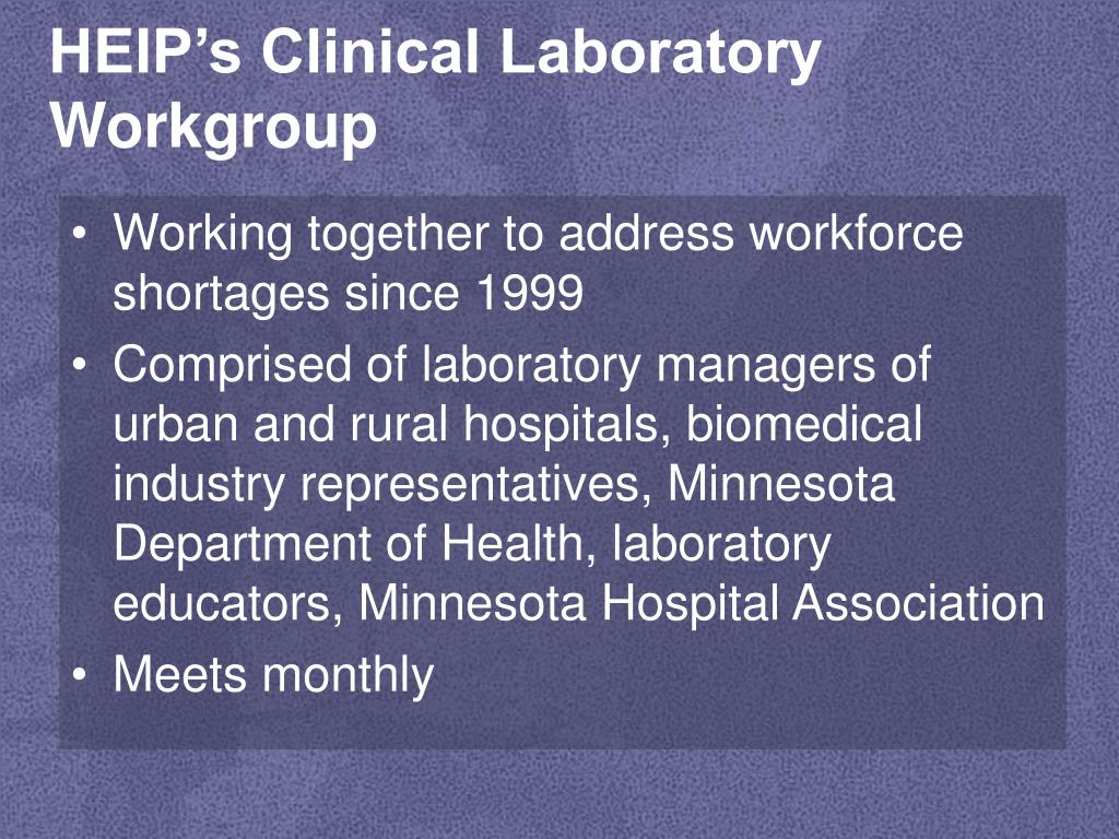HEIP's Clinical Laboratory Workgroup