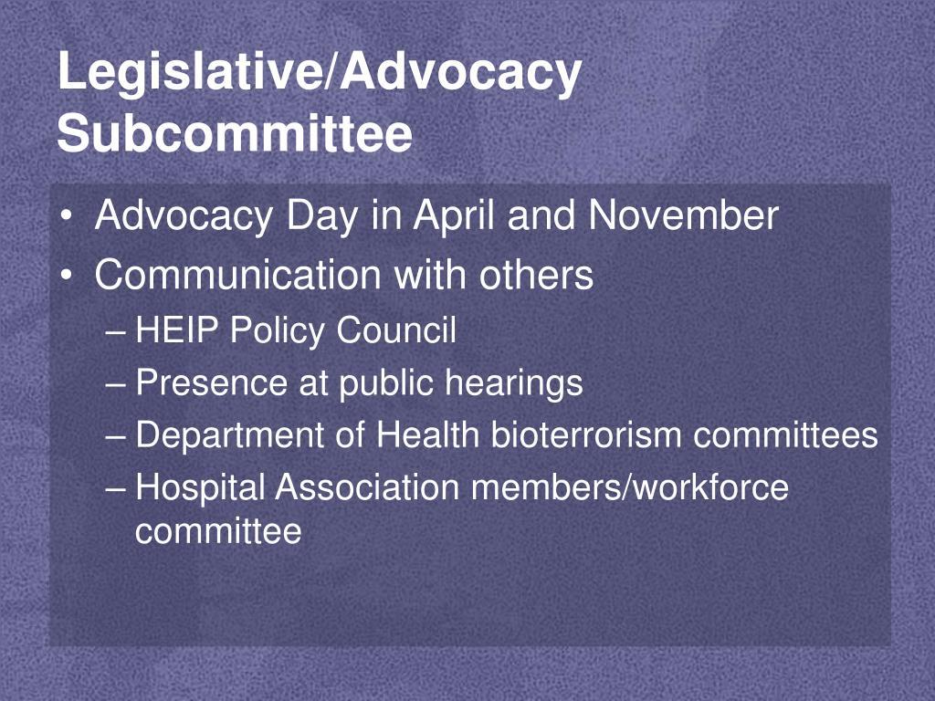 Legislative/Advocacy Subcommittee