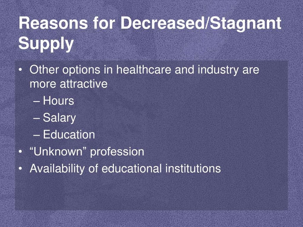 Reasons for Decreased/Stagnant Supply