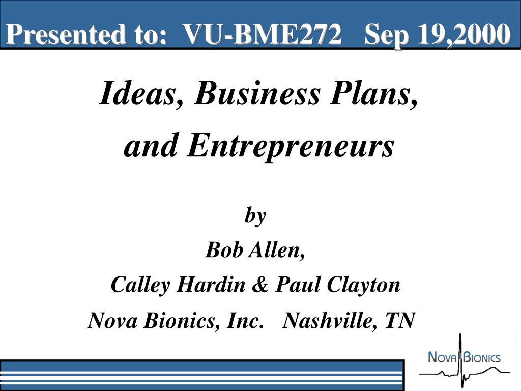 Presented to:  VU-BME272   Sep 19,2000
