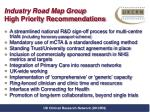 industry road map group high priority recommendations