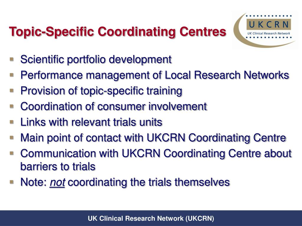 Topic-Specific Coordinating Centres
