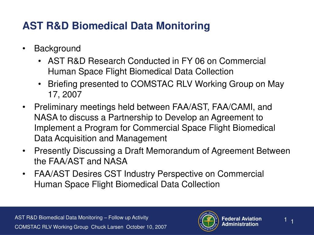 AST R&D Biomedical Data Monitoring