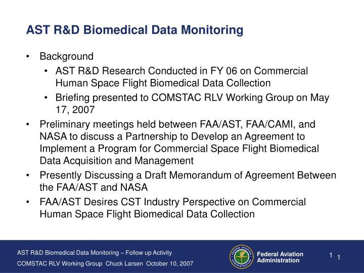Ast r d biomedical data monitoring