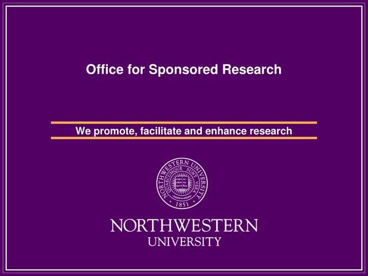 office for sponsored research n.