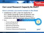 can local research capacity be built