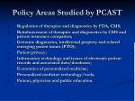 policy areas studied by pcast