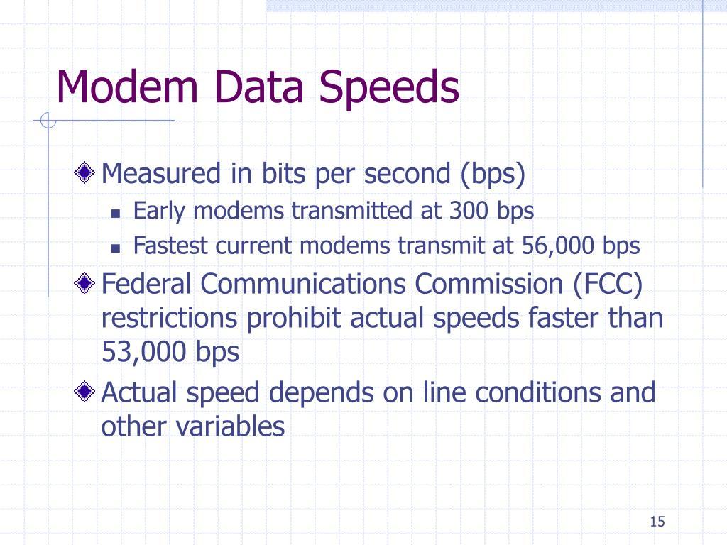 Modem Data Speeds