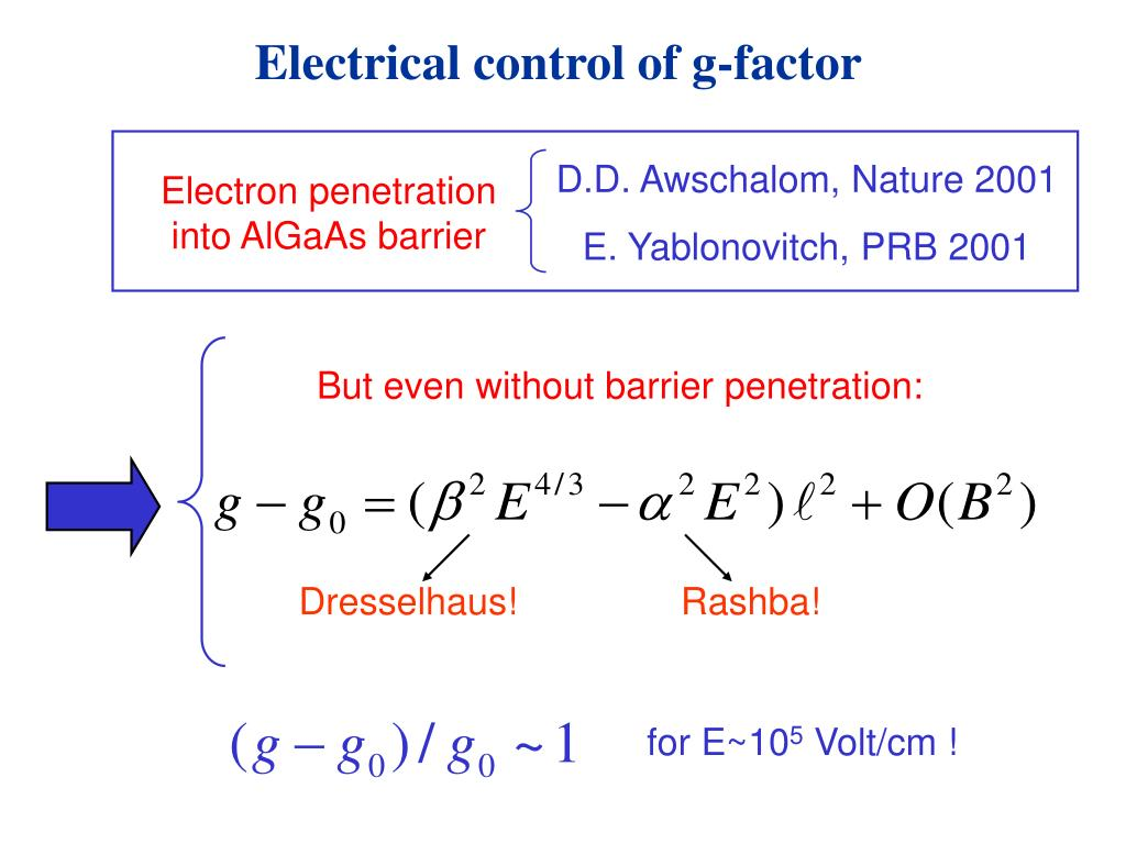 Electrical control of g-factor