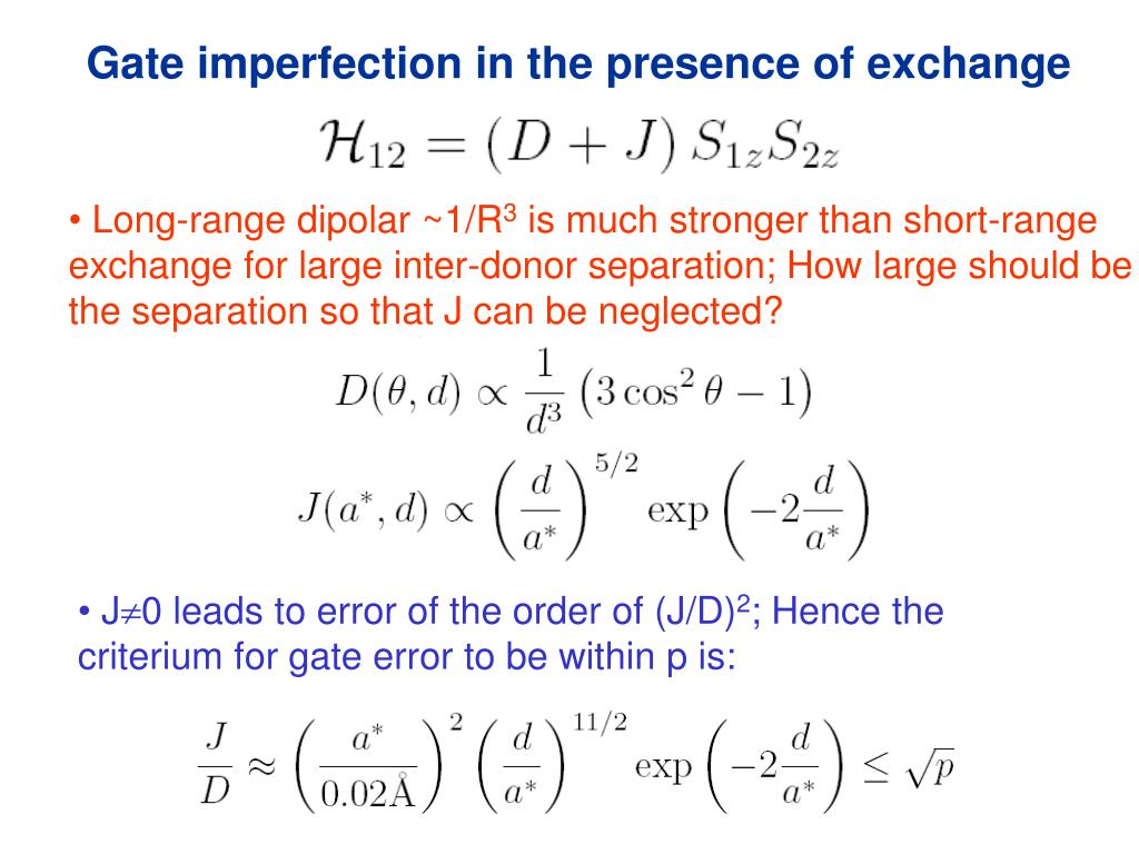 Gate imperfection in the presence of exchange