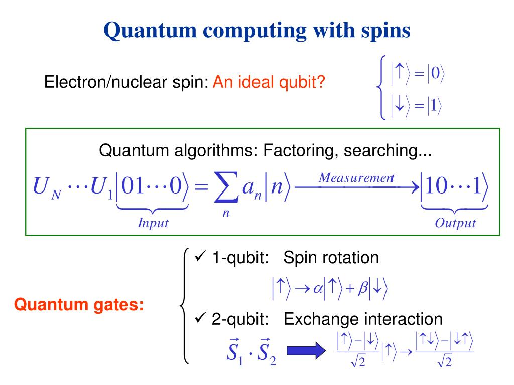 Quantum computing with spins