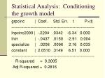 statistical analysis conditioning the growth model7