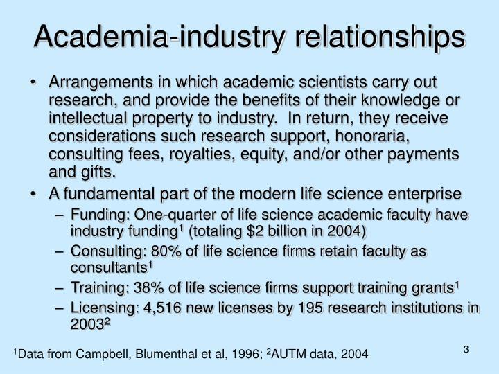 Academia industry relationships