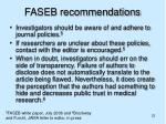 faseb recommendations