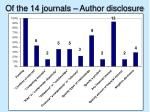 of the 14 journals author disclosure