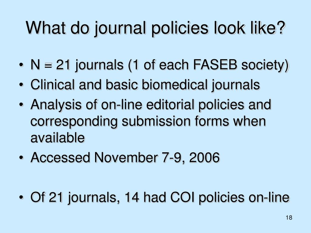 What do journal policies look like?