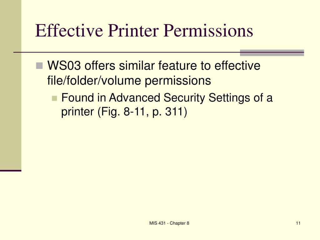 Effective Printer Permissions
