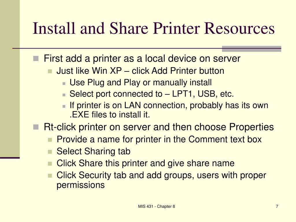 Install and Share Printer Resources