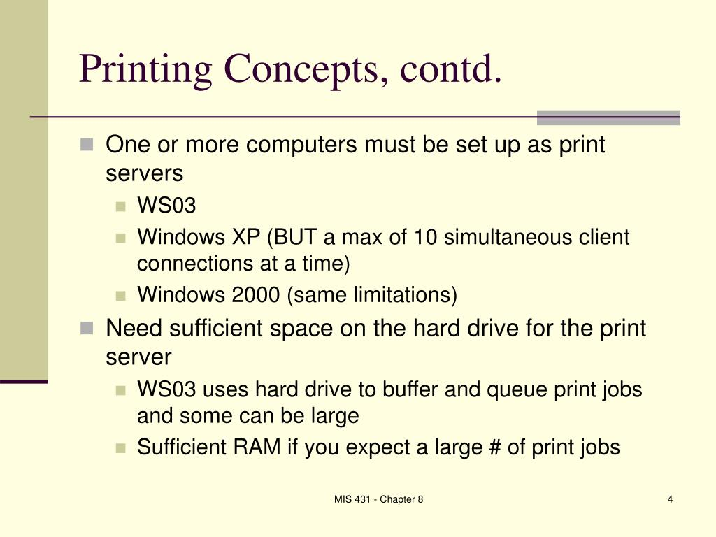 Printing Concepts, contd.