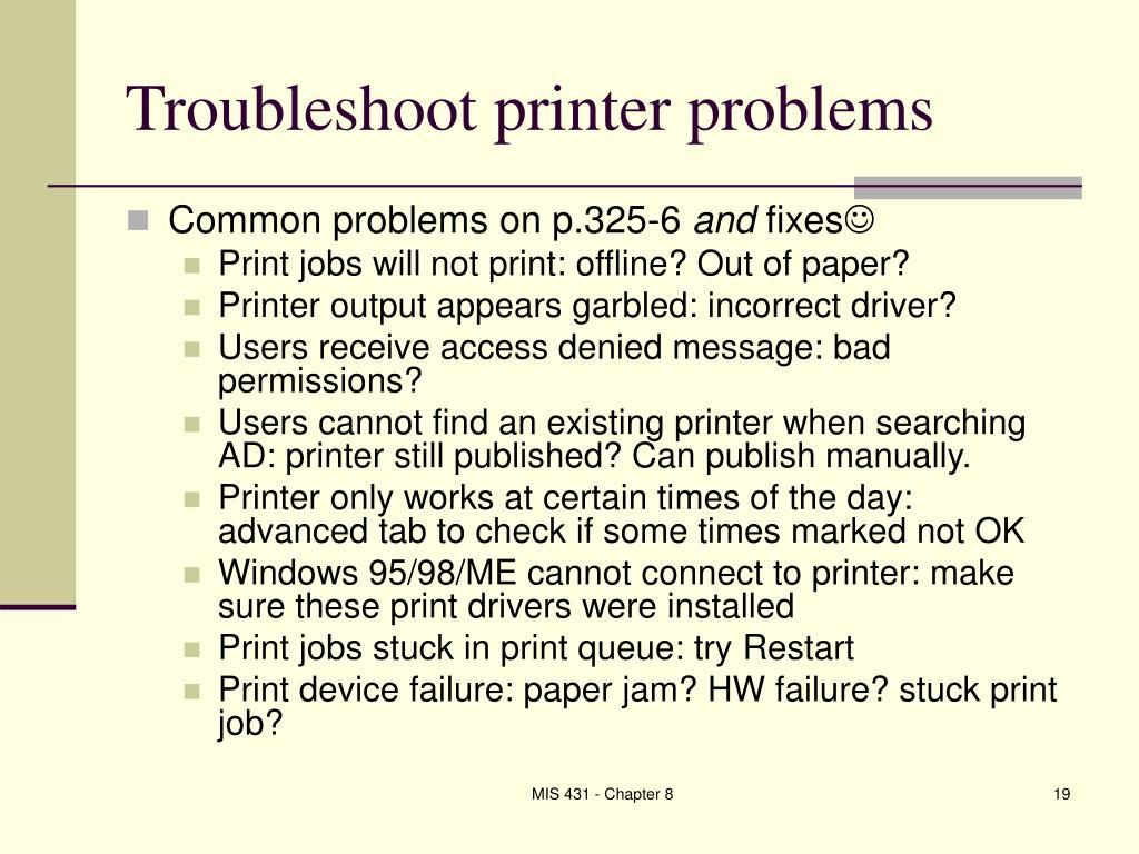 Troubleshoot printer problems